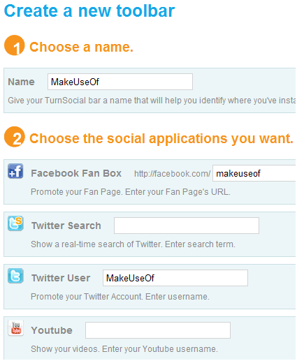 social networking toolbar for website