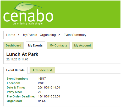 cenabo   Cenabo: Cool Meal Ordering System For Group Events