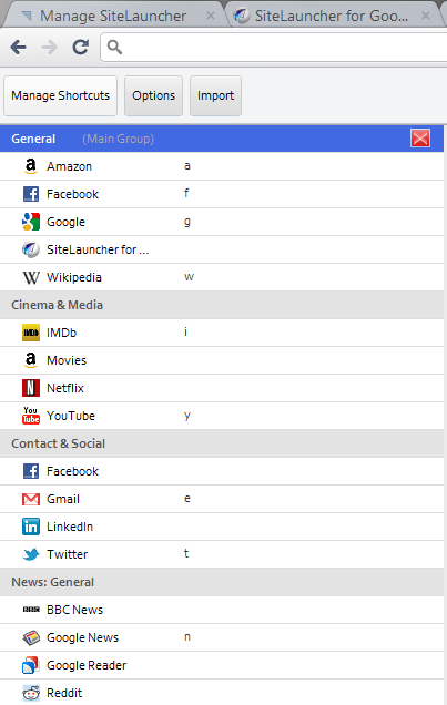 site launcher for chrome