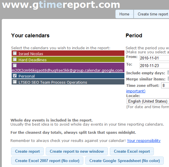 gtimereport create timesheets from your google calendar