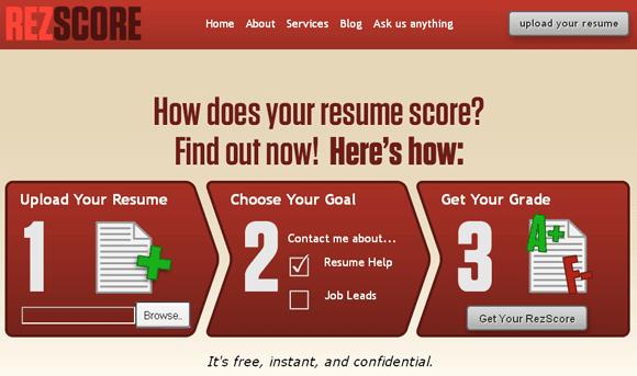 rezscore   ReZScore: Free Resume Grader Online