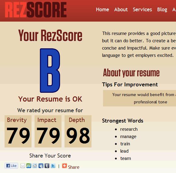 rezscore1   ReZScore: Free Resume Grader Online