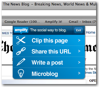 Amplify: Clip, Blog & Share Content On Multiple Sites amplify1