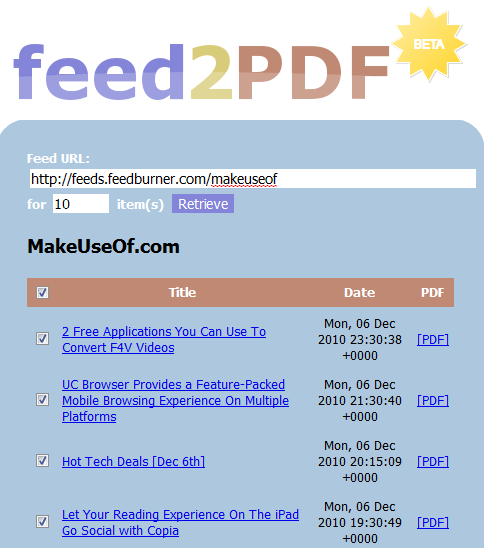 rss feed to pdf