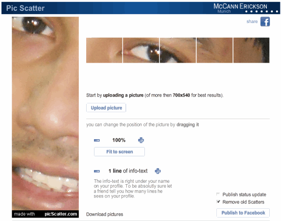 picscatter   PicScatter: Get The Cool Facebook Profile Picture Effect