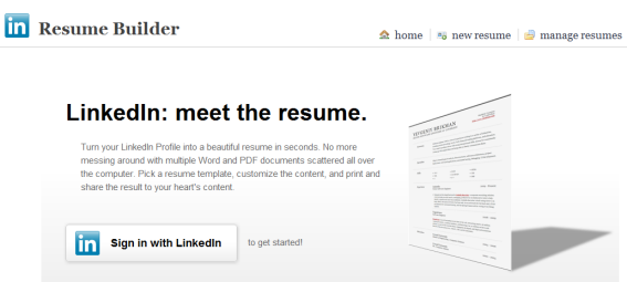 resume builder create a resume from your linkedin profile