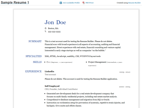 generate resume from linkedin builder resume