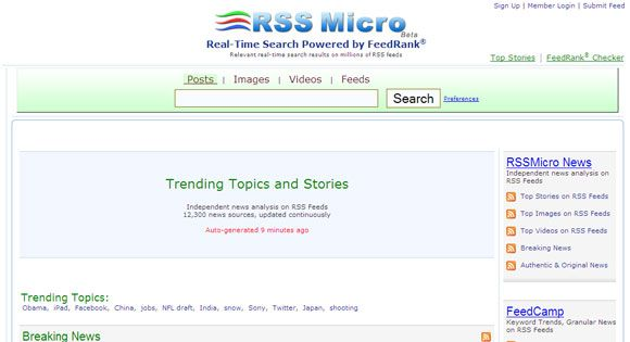 rss feed search engine