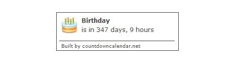 birthday   CountdownCalendar: An embeddable countdown calendar for your website