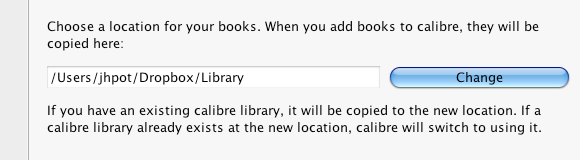 Combine Dropbox & Calibre For Universal Access To All Your E-Books calibre changelibrary