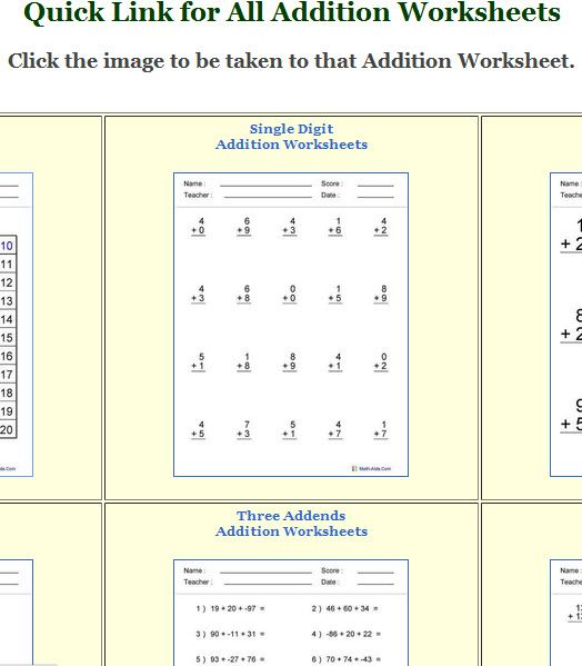 MathAids Get Math Worksheets for Young Children – Get Worksheets