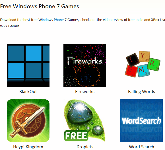 windows phone 7 games