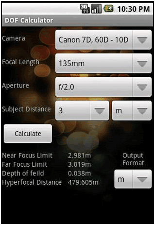 depth of field setting
