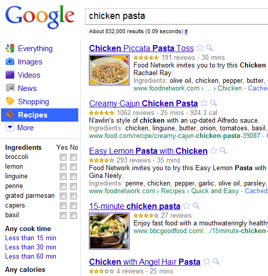 google recipe view   Google Recipe Search: Googles new recipe search engine