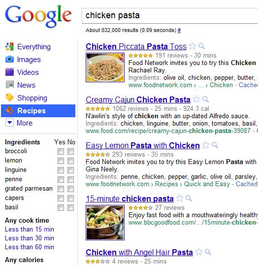 google recipe view   Google Recipe Search: Googles new recipe search engine