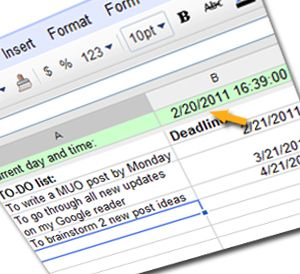 How to Add the Current Time to a Google Spreadsheet