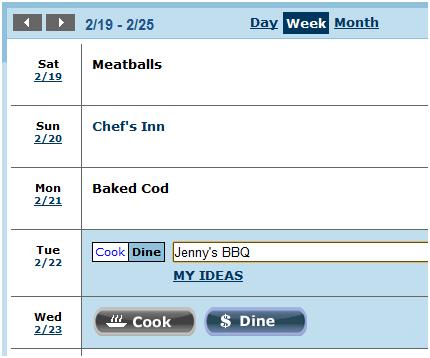 make cooking schedule