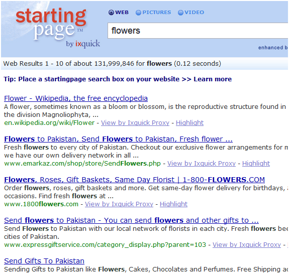 starting page   Startingpage: Anonymously Search The Web