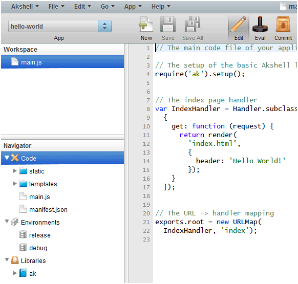Akshell An Online Ide For Developing Javascript Web Apps