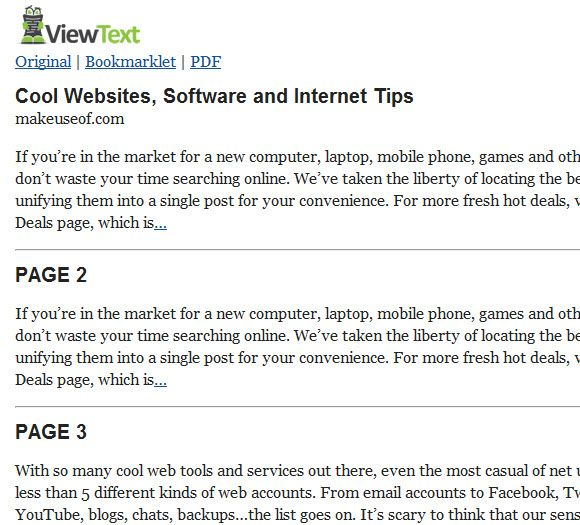 text only web page viewing