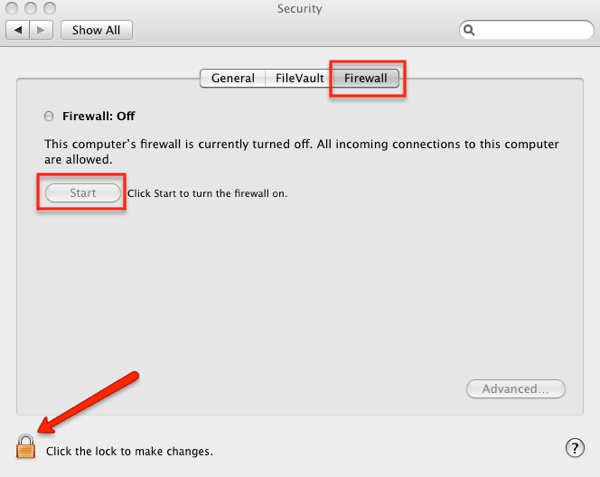 enable firewall mac