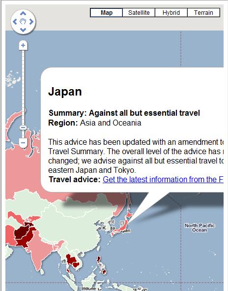 travel advisory map