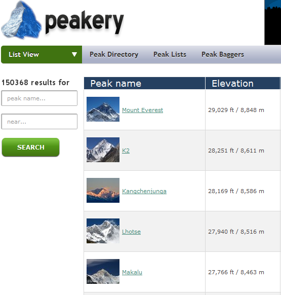 directory of mountains