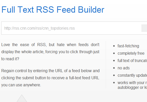 rss   FullTextRSSFeed: Convert partial RSS feeds to full text feeds
