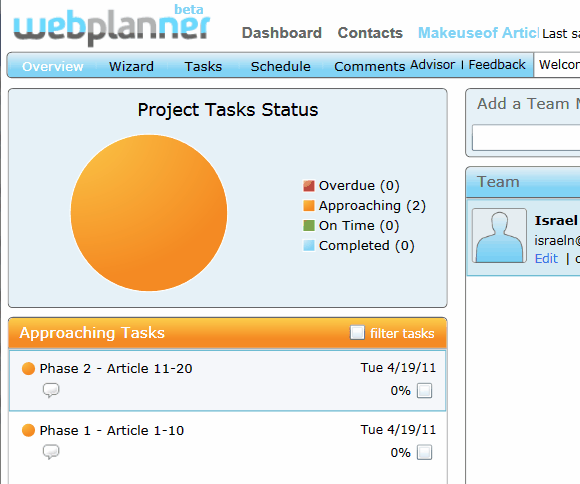10114   Webplanner: Project Management Tool For Time Critical Teams
