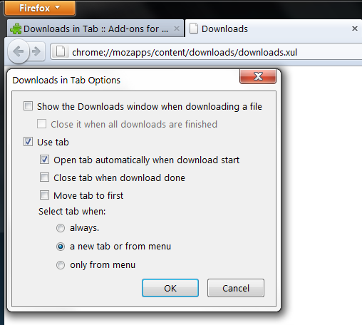 downloads in tabs