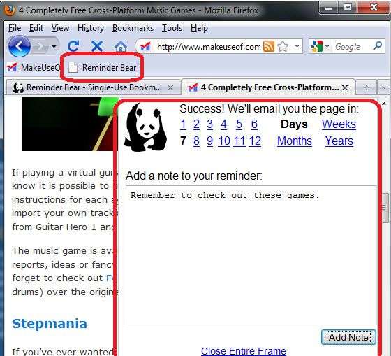 web page reminder