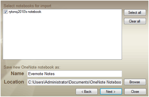 evernote to onenote import