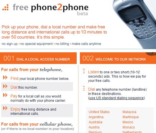 freephone2phone   FreePhone2Phone: Free 10 Minute International Calls From the US