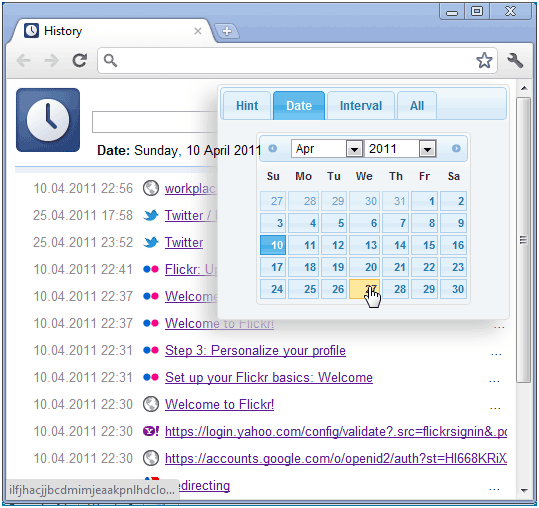 history calendar   History Calendar: Easily View Chrome Browsing History By Date
