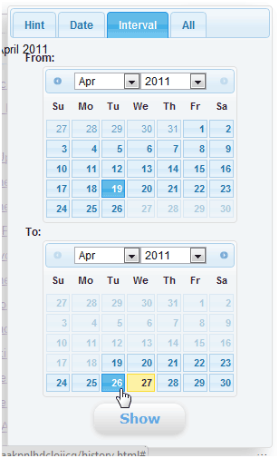 history calendar1   History Calendar: Easily View Chrome Browsing History By Date