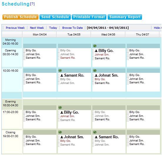 employee shift scheduling online