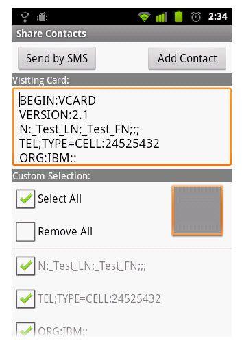 receive contacts via bluetooth