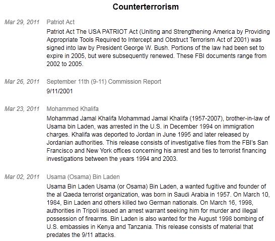 released fbi documents