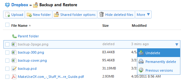 dropbox recover deleted files