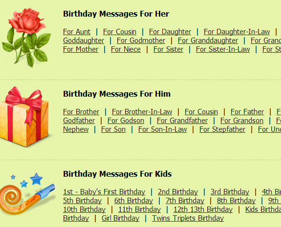 collection of birthday messages