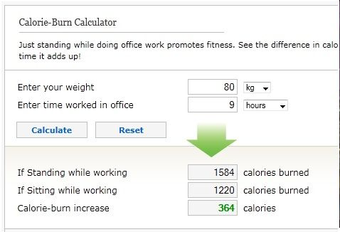 how many calories burnt standing