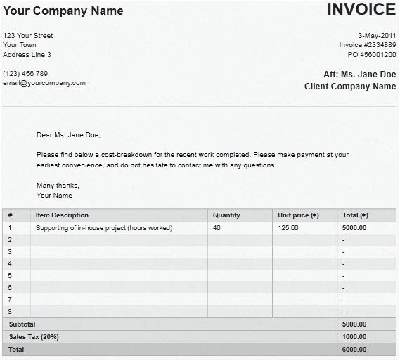 quickly create invoice
