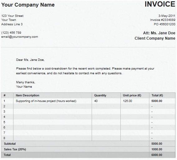 quickly create invoice
