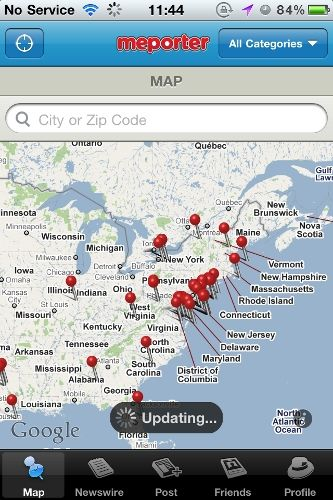 Become A Mobile Citizen Journalist Using Your iPhone & Meporter main map