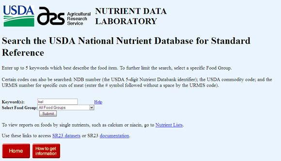 nutritional information websites