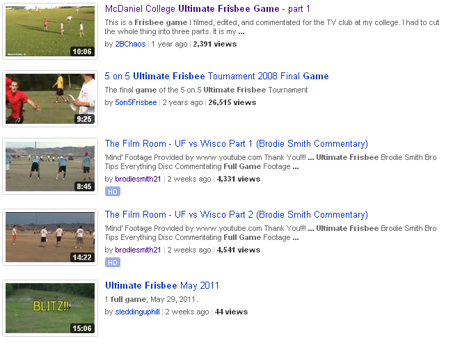 ultimate frisbee website