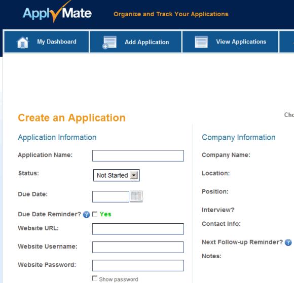 personal job applications