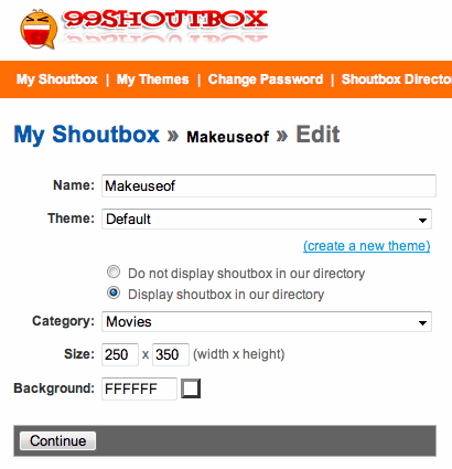 embeddable shoutbox