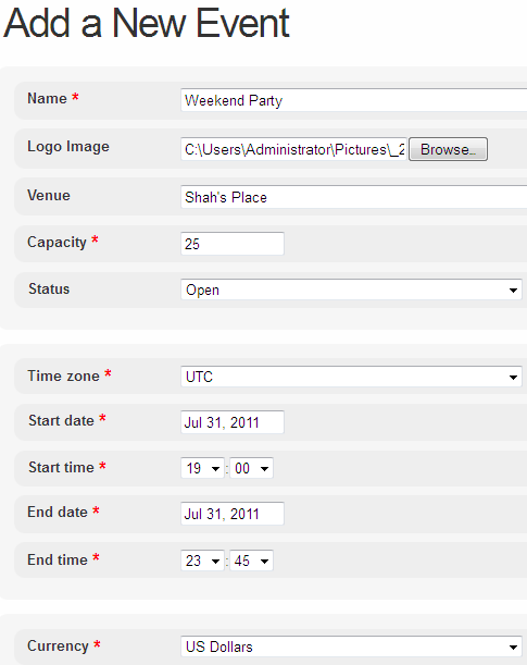 create event web page