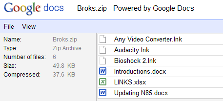 open zip rar with gdocs
